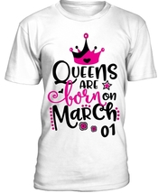 Футболка женская Queens are born on march ваша дата